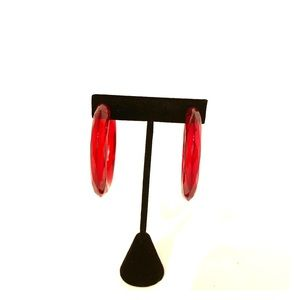 Bebe Red lucite hoops